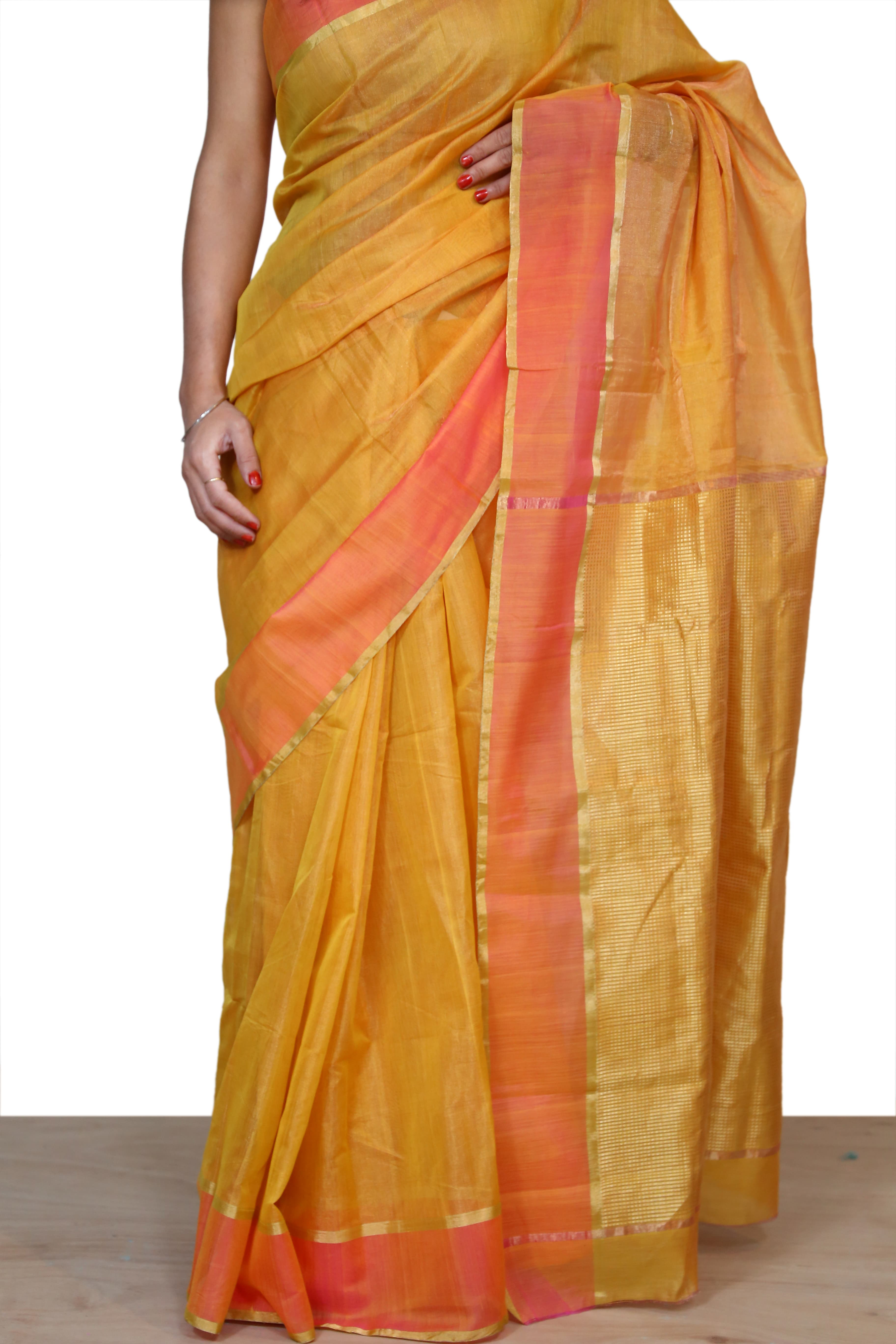 f890667aa38e99 Contrast Blouse For Pink And Orange Silk Saree - Best Blouse 2018